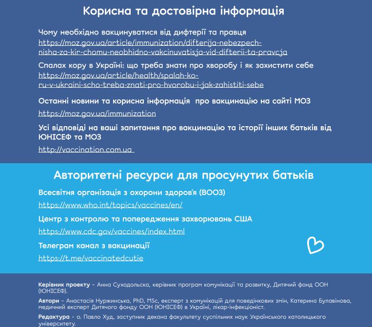Інформаційні ресурси, якими радить користуватися ЮНІСЕФ