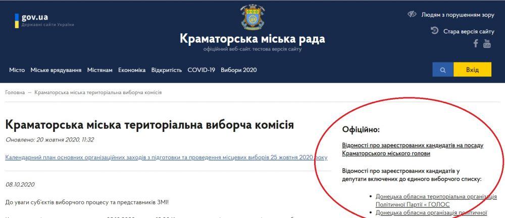 раздел Краматорской ТВК на сайте горсовета